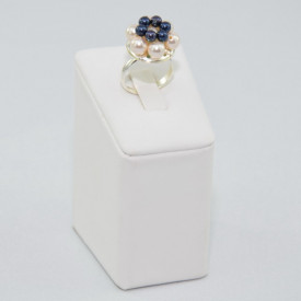 Inel cu perle SWAROVSKI ELEMENTS - Night blue & creamrose
