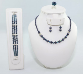 Set bijuterii cu cristale si perle SWAROVSKI ELEMENTS - night blue