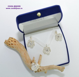 Set FLOWER cu cristale SWAROVSKI ELEMENTS - silver