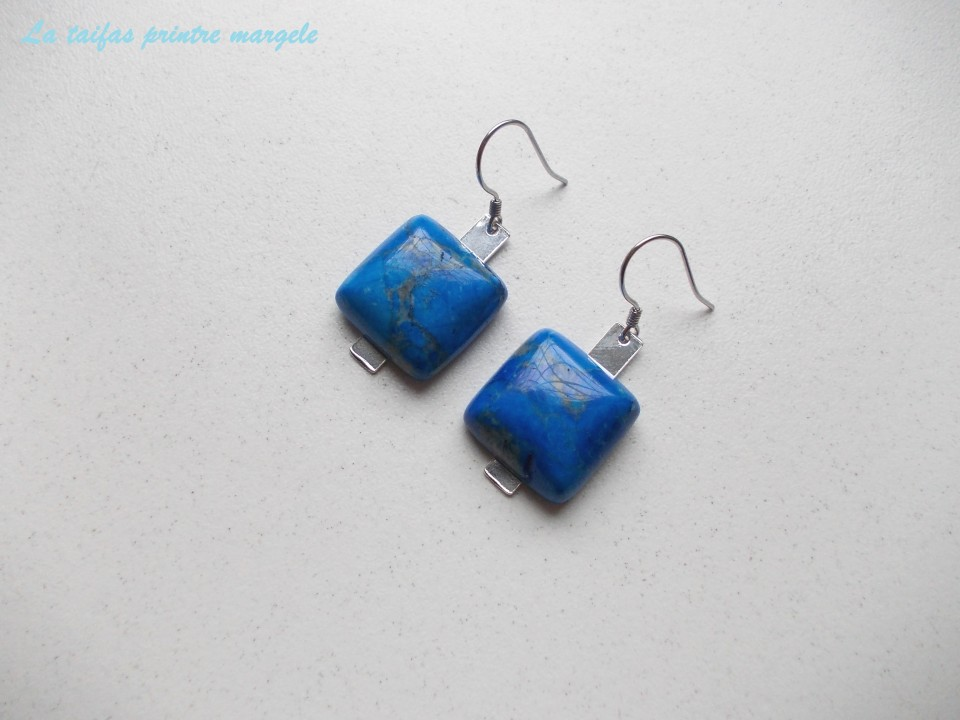 117b2c2c9c044 Sterling silver earrings with square blue crazy lace agate cabochon