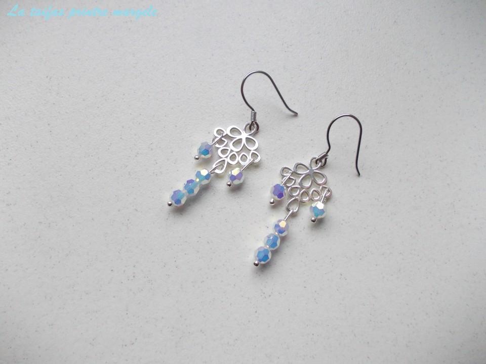 Sterling Silver Chandelier Earrings With Shperical Swarovski White Opal