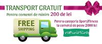 Livram gratuit comenzile de produse naturiste mai mari de 200 lei, respectiv echipamentele fitnss de peste 2000 lei