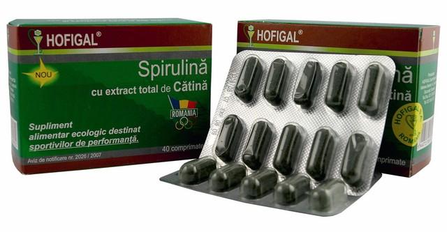 Spirulina cu extract total de catina 40 cpr, Hofigal