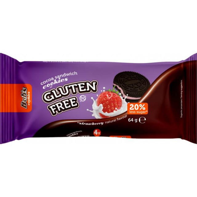 Biscuiti fara gluten cu aroma de capsuni Bob Foods - 64 g