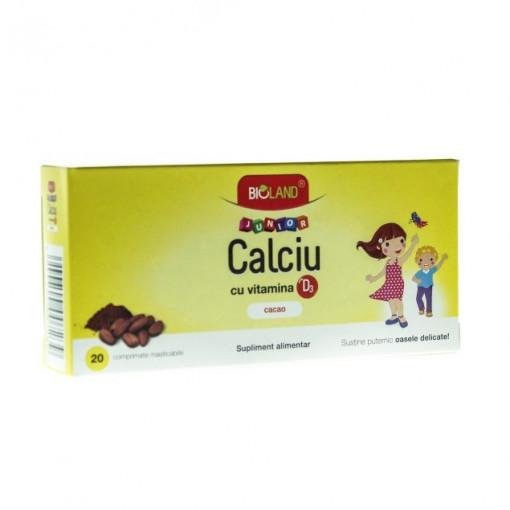 Calciu + Vitamina D3 Junior Cacao 20 - cpr
