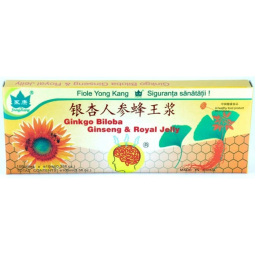 Ginkgo Biloba, Ginseng & Royal Jelly YK - 10 fiole x 10ml