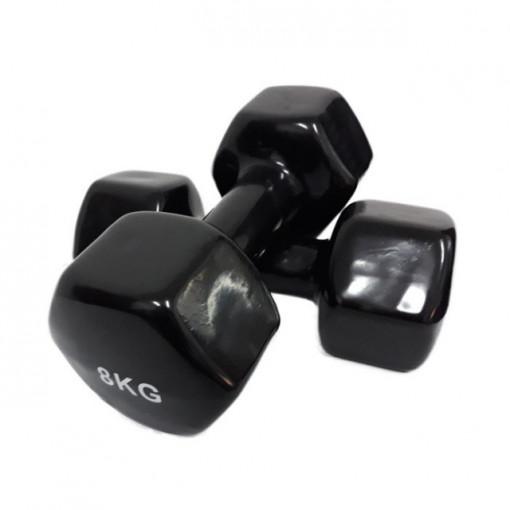 Set gantere epoxy 2 x 8 kg Dayu Fitness negru