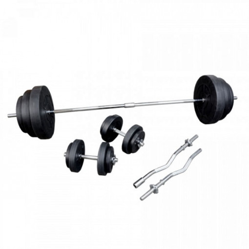 Set greutati fitness bara+discuri 91kg. OW1306, TheWay Fitness
