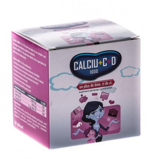 Calciu 1000 + Vitamina C + D - 20 plicuri