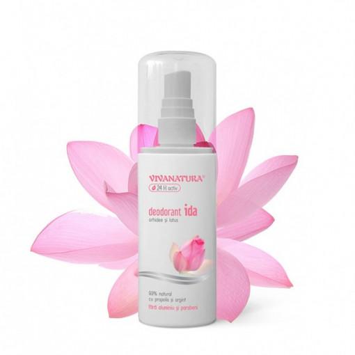 Deodorant IDA - orhidee si lotus cu atomizor - 100 ml Vivanatura