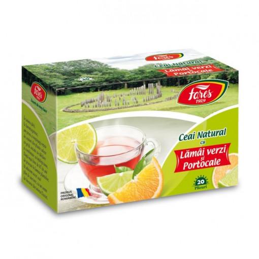 Ceai natural cu Lamai Verzi si Portocale - 20 pl Fares