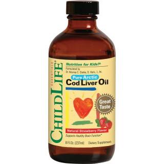 Cod Liver Oil (gust de căpşuni) - 237 ml - ChildLife Essentials