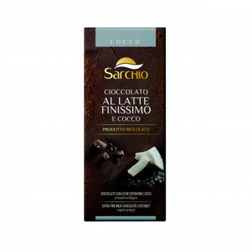 Ciocolata extrafina cu lapte si nuca de cocos fara gluten Sarchio BIO - 80 g