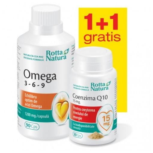 Omega 3-6-9 - 90 cps + Coenzima Q10 15mg - 30 cps Gratis