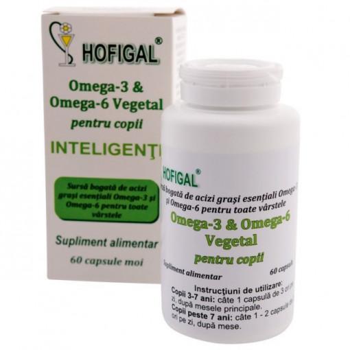 Omega 3 & Omega 6 Vegetal pentru copii - 60 cps Hofigal