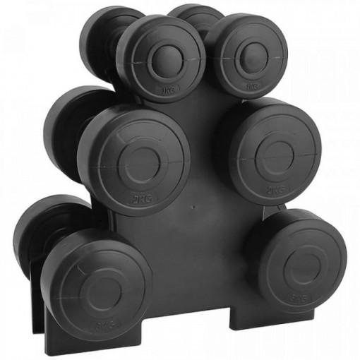 Set gantere family 12 kg, suport inclus, Negru, TheWay Fitness