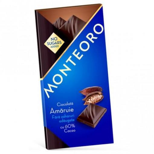 Ciocolata amaruie Monteoro Fara Zahar - 90g
