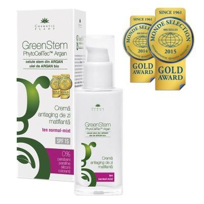 Crema GreenStem antiaging de zi matifianta cu SPF 15 - 50 ml