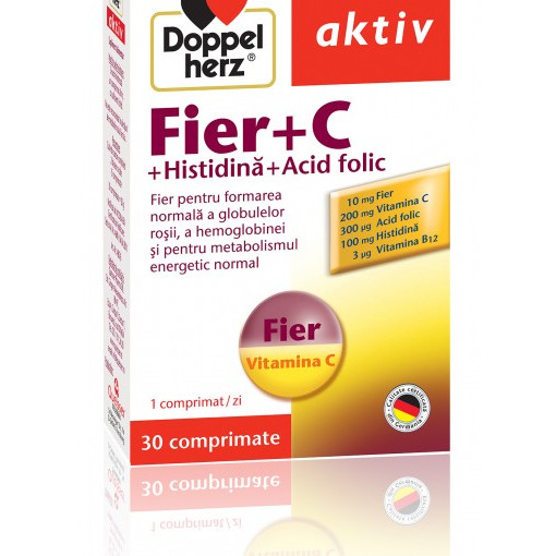 Doppelherz aktiv Fier + C + Histidina + Acid folic - 30 cpr