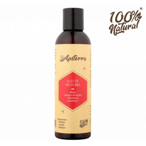 Ulei de ricin cu miere, laptisor de matca, vitamina C si E Apiterra - 200 ml