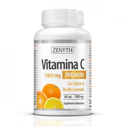 Vitamina C Premium 1000 mg cu citrice bioflavonoide - 60 cps