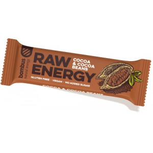 Baton fructe Raw Energy cu cacao si boabe de cacao - 50 g