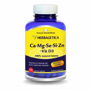 Ca+Mg+Se+Si+Zn cu Vitamina D3 Complex Forte - 120 cps
