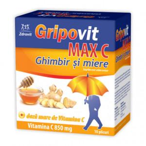 Gripovit Max C ghimbir și miere - 10 dz