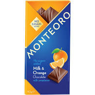 Ciocolata cu lapte si portocale, Monteoro, fara zaharuri adaugate - 90 g