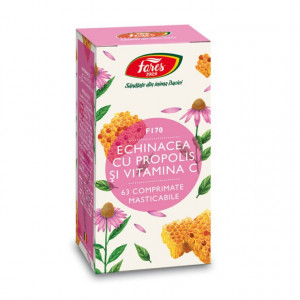 Echinacea cu propolis și vitamina C, F170 - 63 comprimate masticabile Fares
