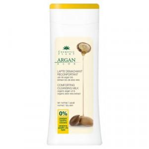 Lapte demachiant reconfortant cu ulei de argan bio si extract bio de aloe vera - 200 ml