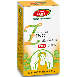 Zinc + Vitamina D3, F180 - 30 cps