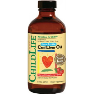 Cod Liver Oil (gust de căpşuni) - 237 ml - ChildLife Essentials