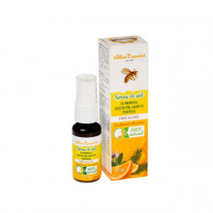 Spray de gat cu propolis, ulei de pin, salvie și portocal fara alcool - 20 ml