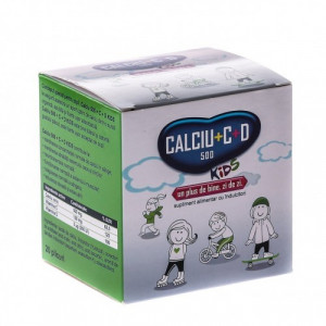 Calciu 500 + D3 + Vitamina C Kids - 20 dz
