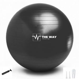Minge Fitness Anti Burst, pompa inclusa, 55 cm, Negru, TheWay Fitness