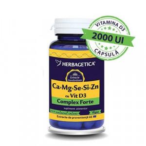 Ca+Mg+Se+Si+Zn cu Vitamina D3 Complex Forte - 60 cps