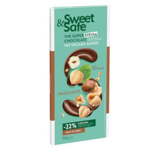 Ciocolata cu lapte si alune de padure fara zaharuri adaugate, Sweet&Safe - 90 g