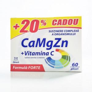 Ca+Mg+Zn+C Forte - 60 plicuri 20% cadou