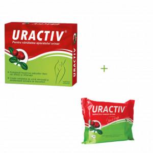 Uractiv - 21 cps + Servetele umede Uractiv Gratis