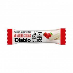 Baton musli cu aroma de capsuni si glazura de iaurt, fara adaos de zahar, Diablo - 30g