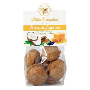 Biscuiti digestivi cu miere, cocos, coacaze si scortisoara - 115 g