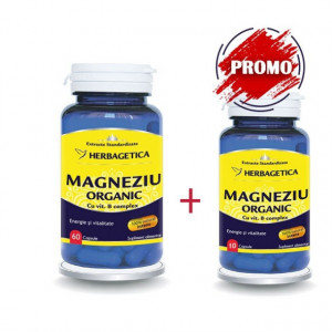 Magneziu Organic 60 cps + 10 cps Gratis
