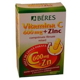 Beres Vitamina C 600mg + Zinc 30cpr