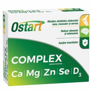 Ostart Complex Ca + Mg + Zn + Se + D3 - 20 cpr