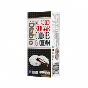 Biscuiti bruni cu crema de lapte si glazura alba Diablo, fara adaos de zahar - 128g