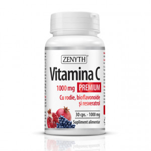 Vitamina C Premium 1000 mg cu rodie bioflavonoide și resveratrol - 30 cps