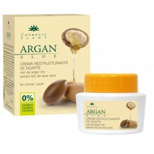 Crema restructuranta de noapte cu ulei de argan bio si extract bio de aloe vera - 50 ml