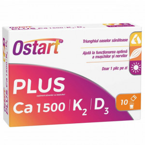 Ostart Plus Ca 1500 + K2 + D3 - 10 dz