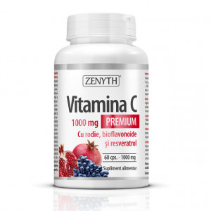 Vitamina C Premium 1000 mg cu rodie bioflavonoide și resveratrol - 60 cps